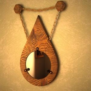 Настенное Зеркало в деревянной с деревянным основанием
