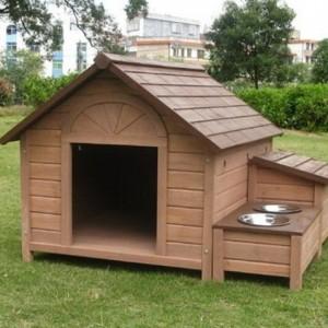 Будка для собаки с разъемами под корм и воду