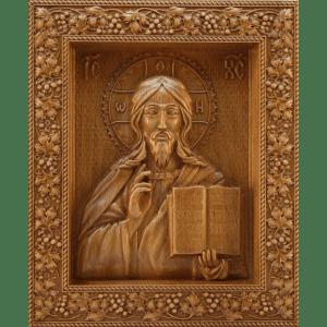 Деревянная икона Спас Вседержитель