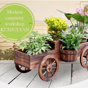 Декоративная садовая тележка для цветочных горшков