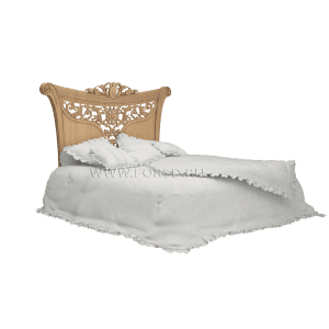 двуспальная кровать из дерева с резным изголовьем