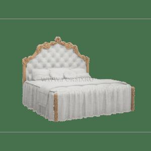 двухспальная кровать из дерева из мягким подголовьем