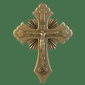 Резное объемное распятие на деревянном кресте