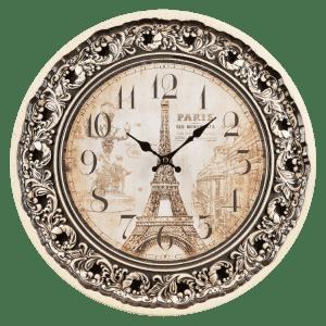 Круглые настенные часы с изображением парижа
