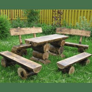 Садовая мебель из бревен дерева