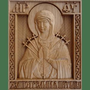 Семистрельная икона Божией Матери из дерева