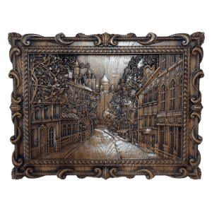 Панно город из дерева