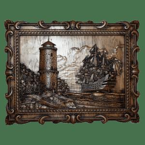Панно маяк из дерева