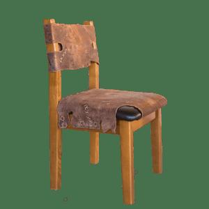 Деревянный стул для дома в кожаной обивке