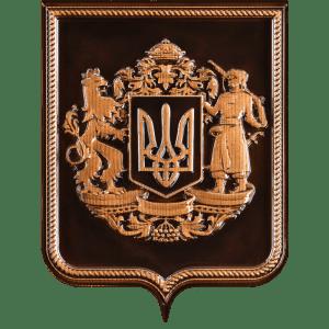 резной герб Украины из дерева