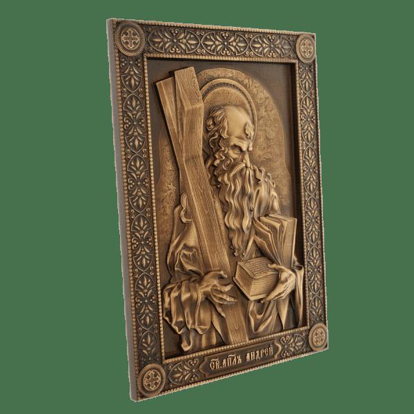 Настенная декоративная икона Апостол Андрей ручной работы