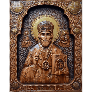 Резная икона Николай Чудотворец (Святой Николай) из дерева