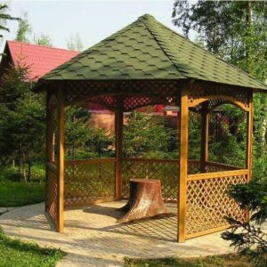 Шестиугольная садовая беседка для дачи
